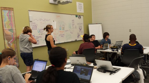 Students brainstorming poster designs