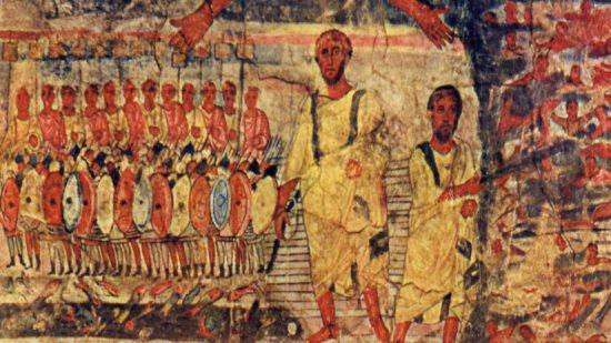 Judíos cruzando el Mar Rojo perseguidos por el faraón. Fresco de la sinagoga de Dura Europos Crédito: Wikimedia Commons