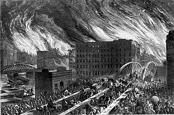 The Great Chicago Fire, an artists rendering, ...
