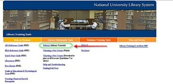 English: Screen shot of National University li...