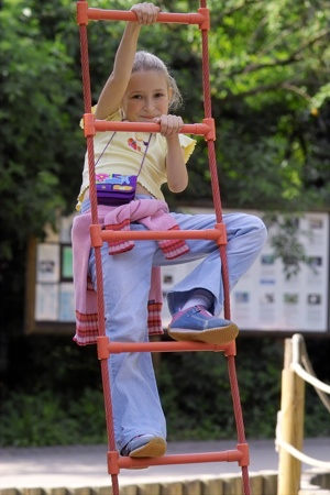 Girl Climbing Rope Ladder