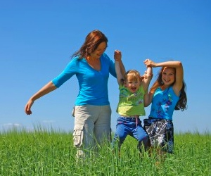Mom with Kids in Field