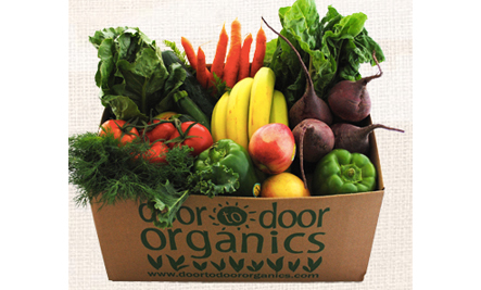 Box of organic fruits and vegetables