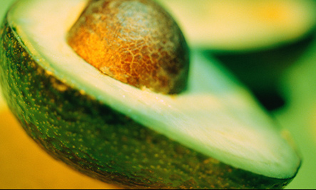 Avocado half with seed
