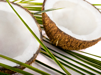 Brown coconut halfs