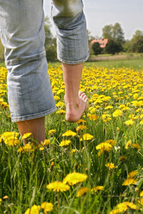 Walking barefoot in a field of yellow flowers.