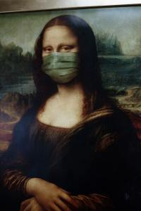 Mona Lisa with COVID-19 Mask