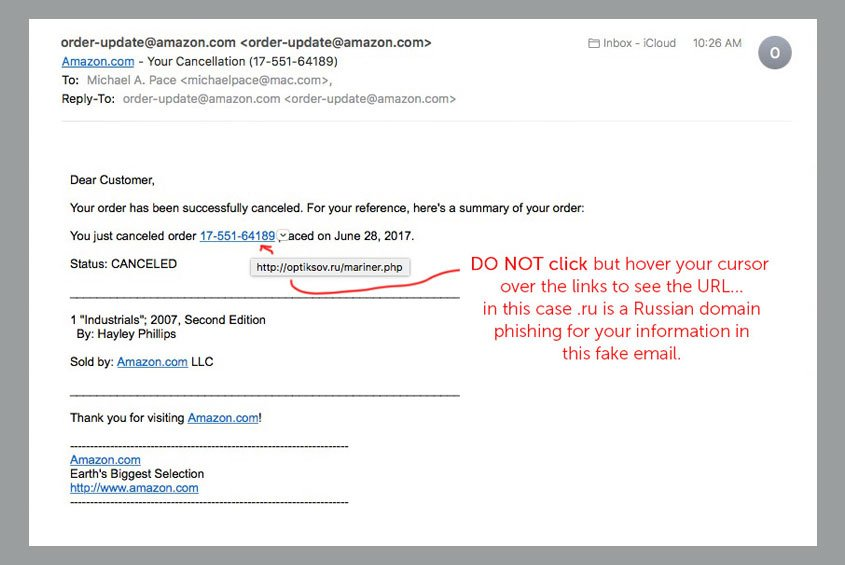 Suspicious email? Don't click but hover to see URL its linking to…