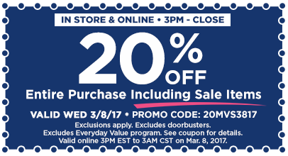 20% Off Entire 3PM-Close MVS
