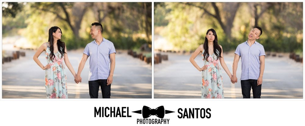 couple making silly faces at each other during their caspers wilderness park engagement photography session