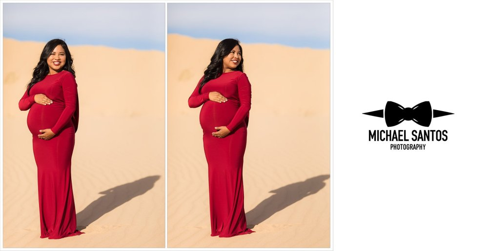 two photos of expecting mother for sand dunes maternity photography