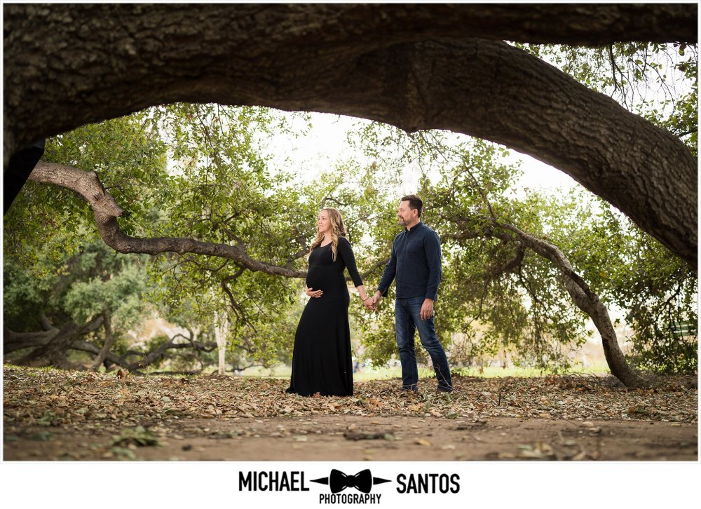 husband and pregnant wife walking under fallen tree at irvine regional park