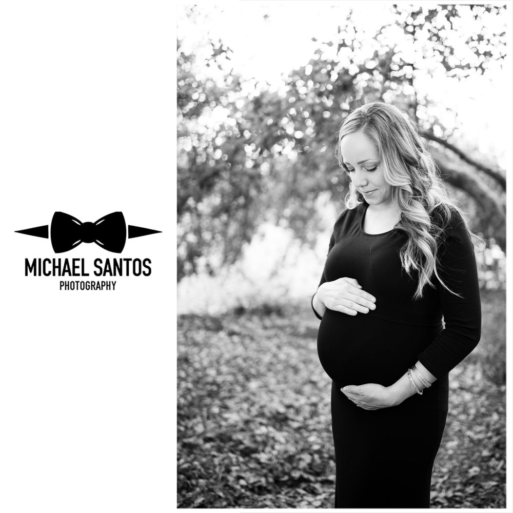 solo portrait of expecting mother to be at irvine regional park
