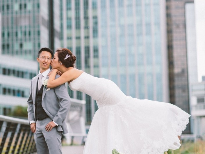 emily and preston's wedding photo at vancouver convention centre