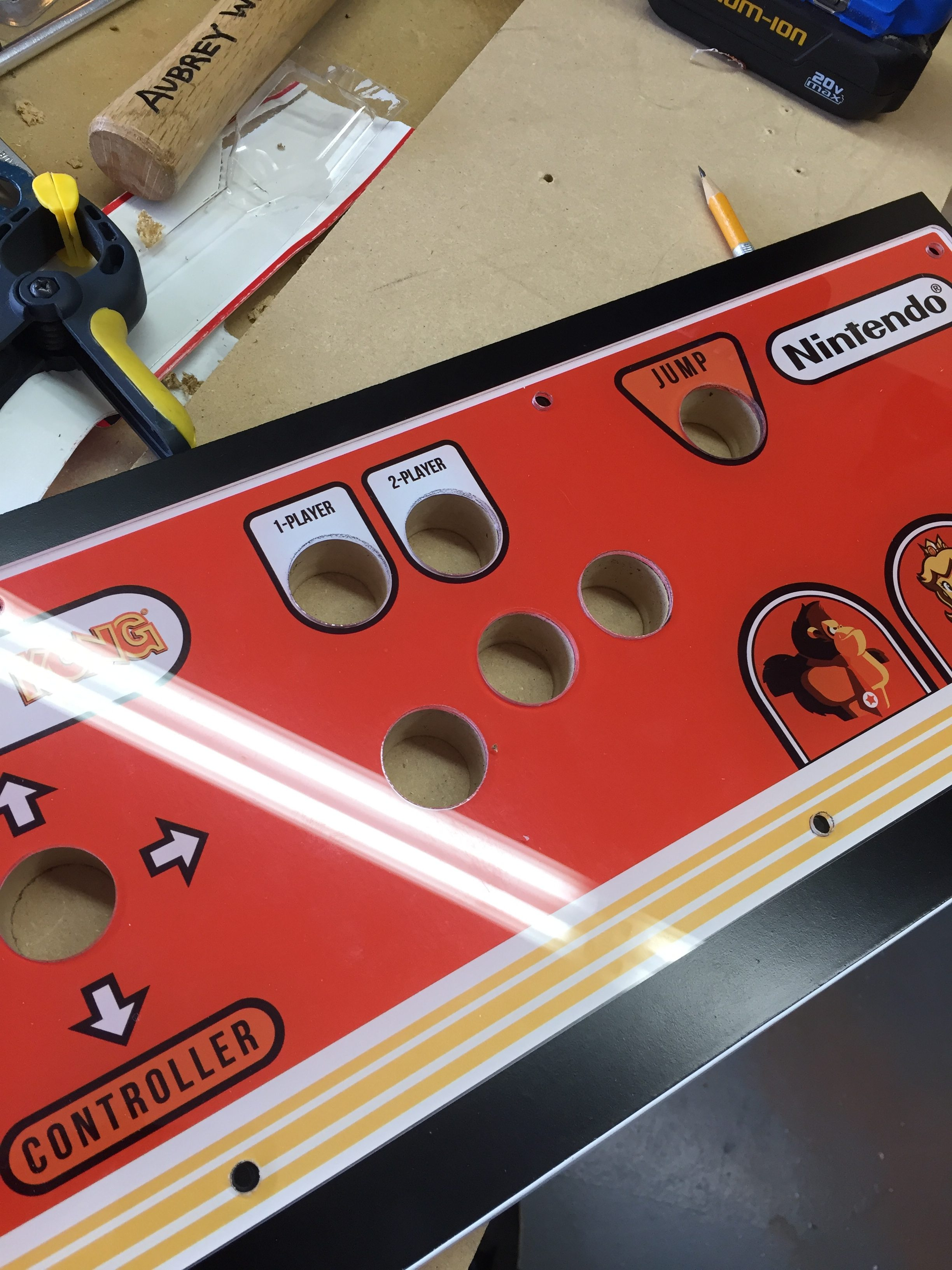 Donkey Kong Arcade Machine: MDF Drilled out with Spade Bit