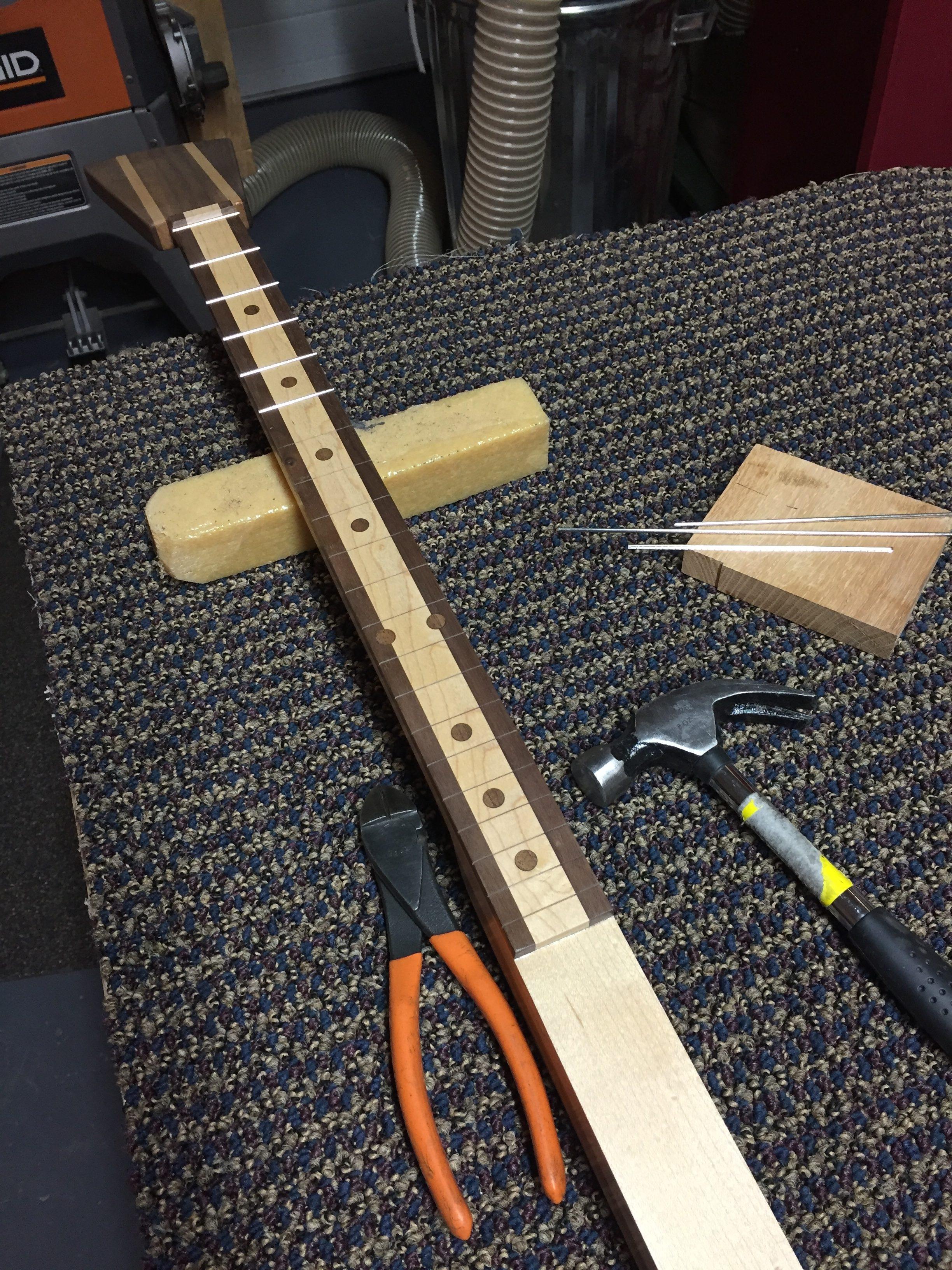 CLE Cigar Box Guitar Build - Fretting