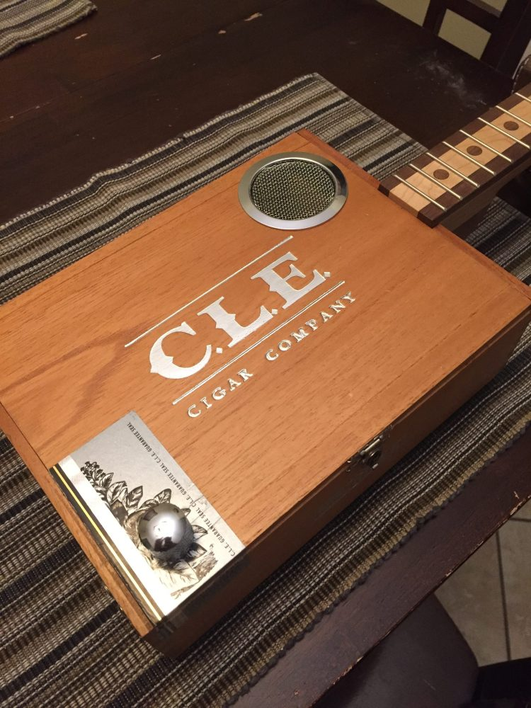 CLE Cigar Box Guitar Build - Ready for bridge, tailpiece and strings.