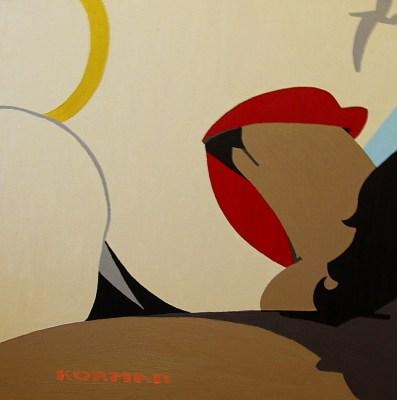Michal Korman: Blow-job, oil on canvas (50x50cm) Paris, 2010