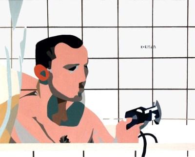 Michal Korman: A night bath, oil on canvas 40x50cm, Brussels