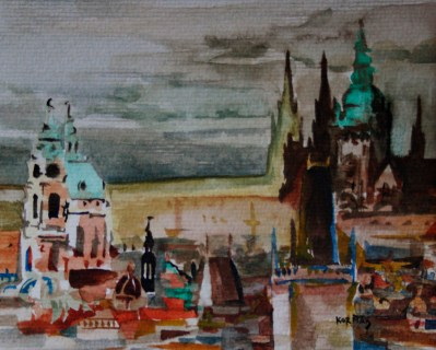 Michal Korman: Prague, watercolour on paper, 2009Private collection, Hungary