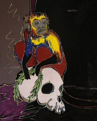 Michal Korman: New World Monkey death, oil on canvas 81x65 cm 2013 Paris