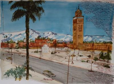 Michal Korman: Marrakech, ink on paper