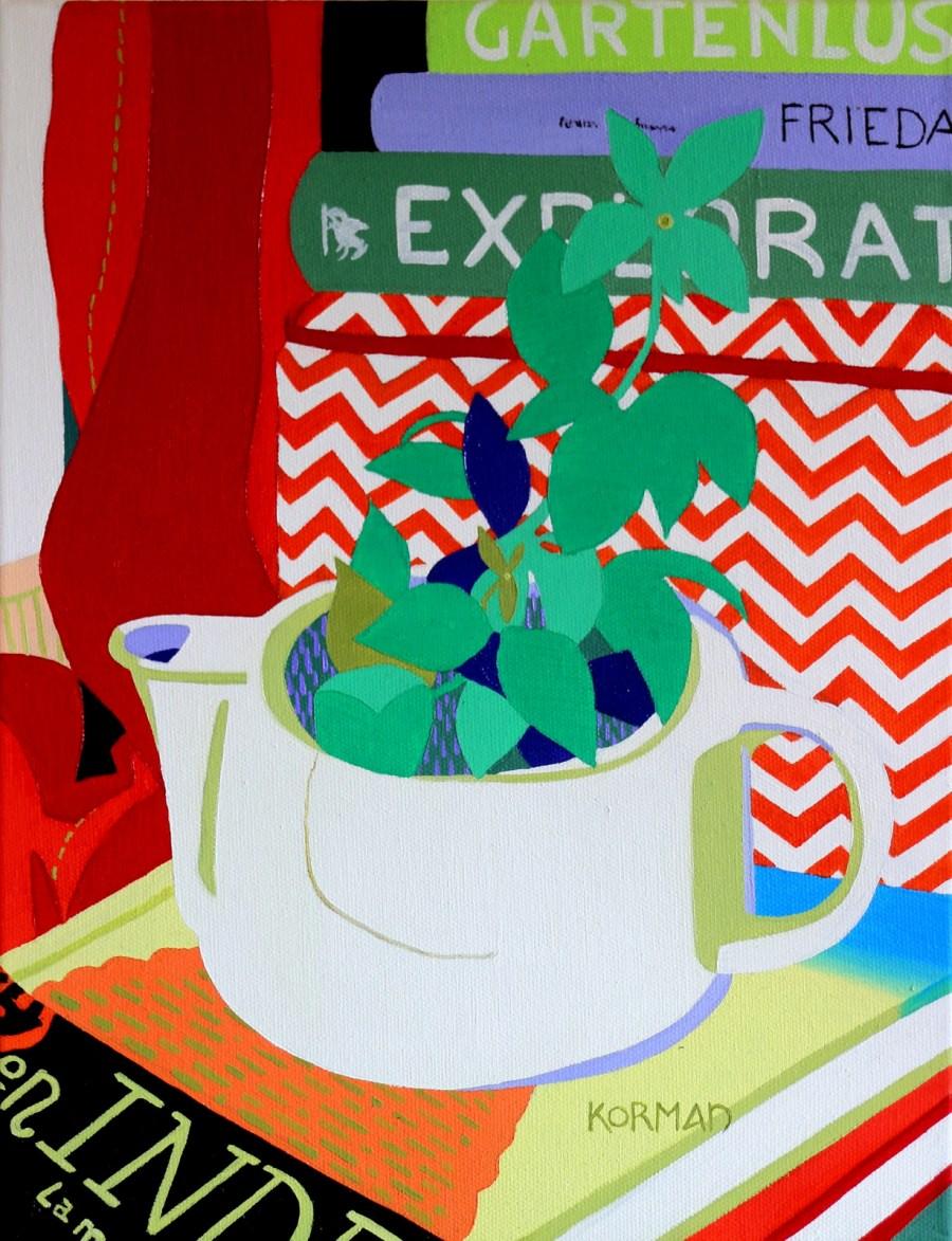 Michal Korman: My pots ( broken tea pot), oil on canvas 35x27 cm, 2017