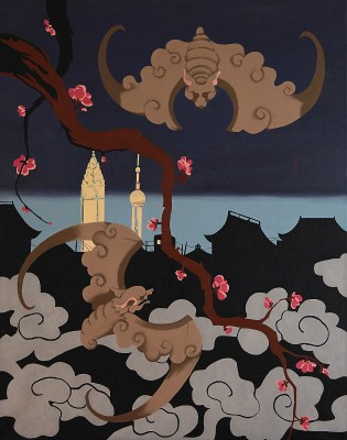 Michal Korman: Moonless night in Shanghai, oil on canvas 92x73 cm, 2013 Paris