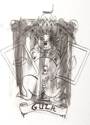 Michal Kucerka: SDS ( Gula ), black ink on paper, 2015