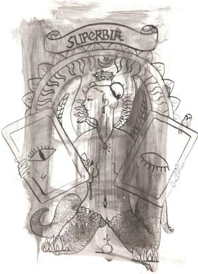 Michal Kucerka: SDS ( Superbia ), black ink on paper, 2015