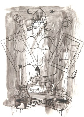 Michal Kucerka: SDS ( Avaritia ), black ink on paper, 2015