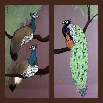 Michal Korman: Peafowl paintings, 2x oil on canvas 140x70 cm, Paris 2014