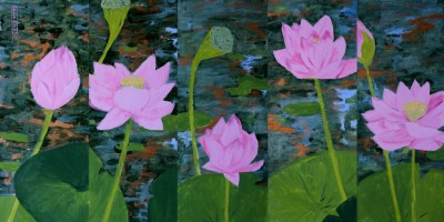 Michal Korman: Lotus flowers, oil on canvas 5 compositions 50x20 each, 2014 Paris