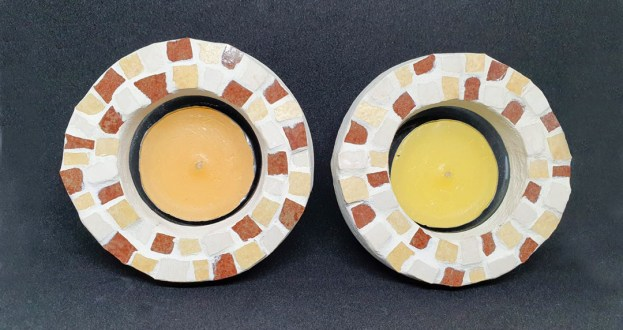 brown candlesticks mosaic work by michal ozeri judaica