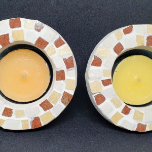 brown candlesticks mosaic work by michal ozeri judaica