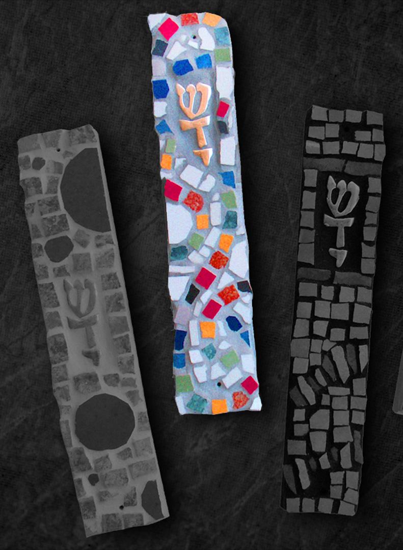 mezuzot handmade mosaic work by michal ozeri judaica