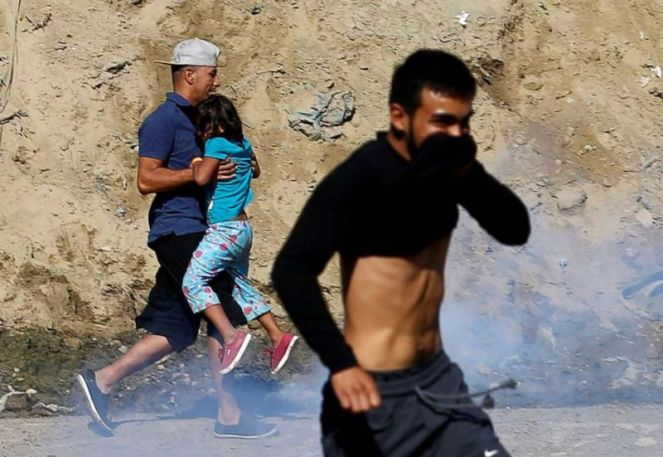 Tear gas used on immigrants at the US boarder