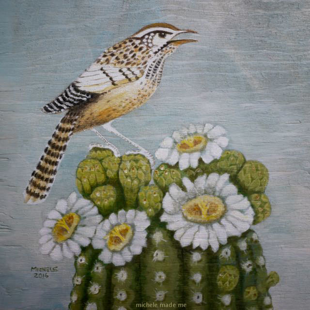colouring page painting cactus wren on a saguaro cactus michele