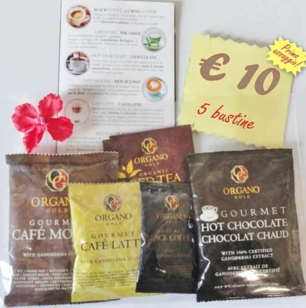 Primo assaggio 5 bustine di Caffè e Thè Gourmet con Ganoderma
