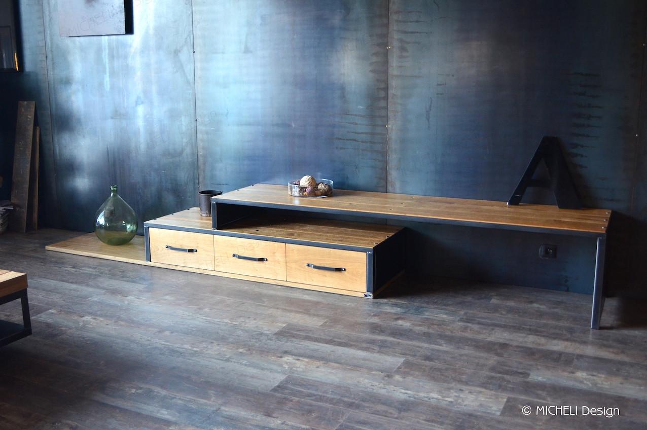 meuble tv extensible et pivotant sur