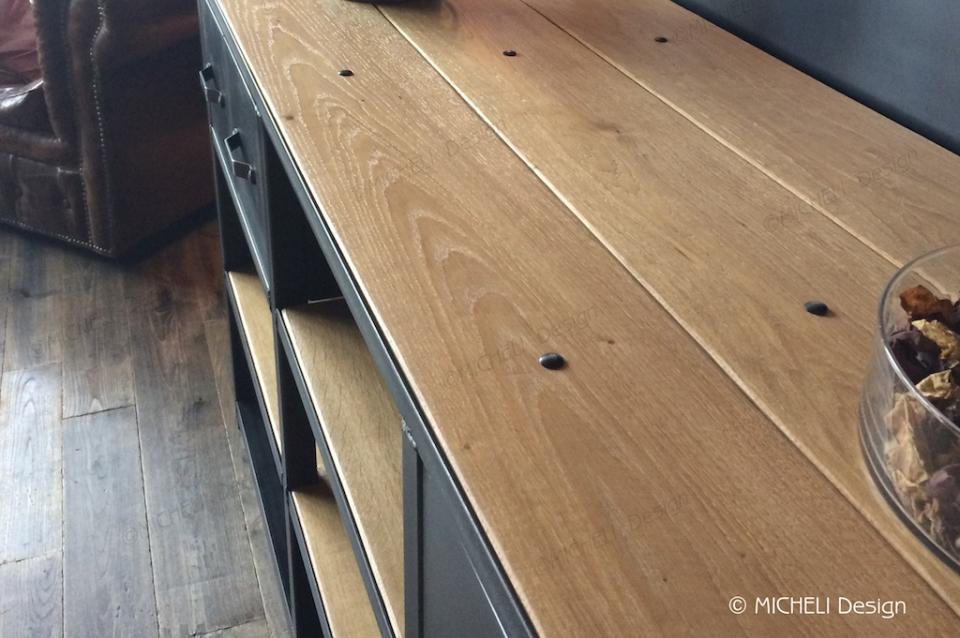 meuble tv hi fi bois et metal noir sur