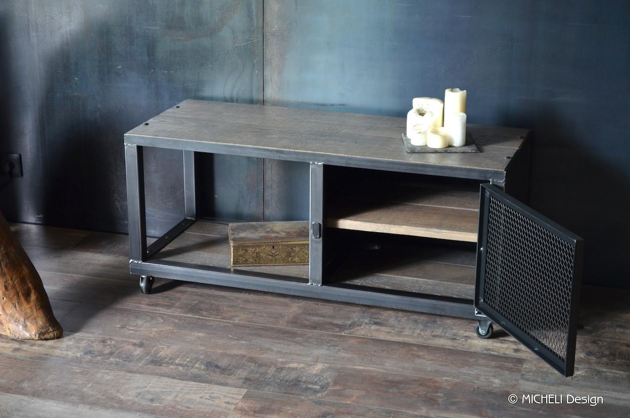 petit meuble tv industriel gris a