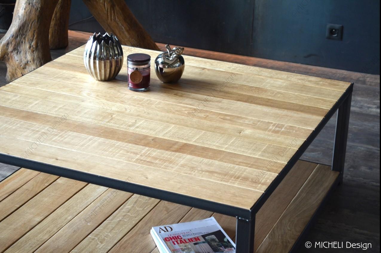 table basse carree de style industriel