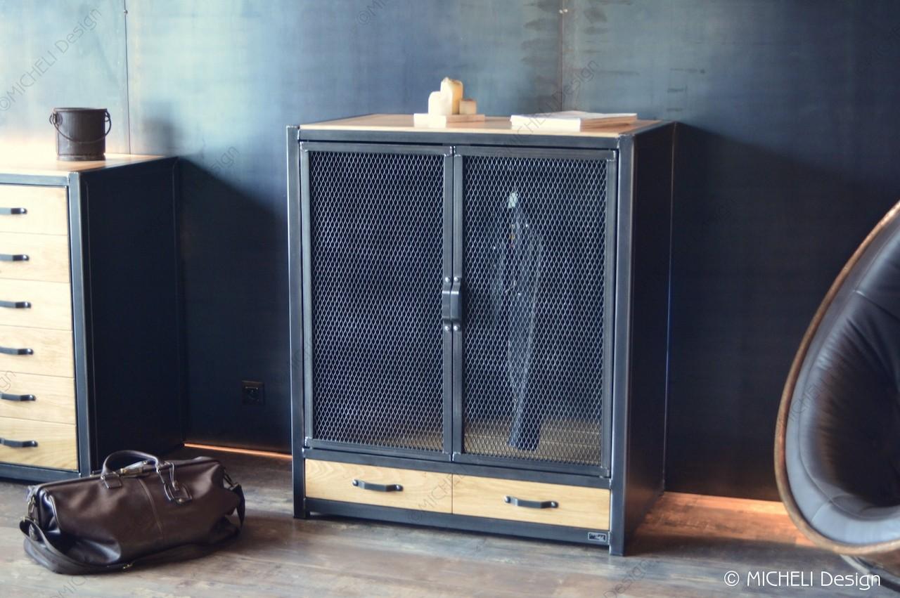 armoire basse industrielle penderie