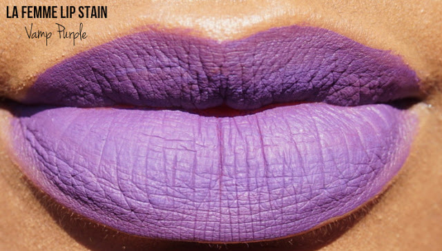 purple liquid lipstick on brown skin
