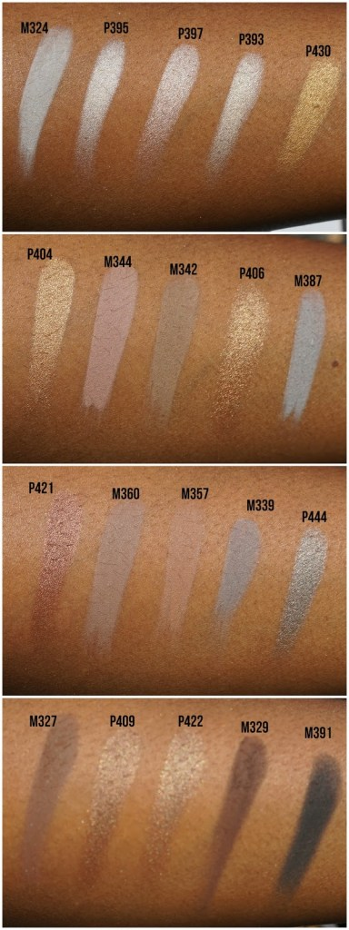 eyeshadow swatches on brown skin