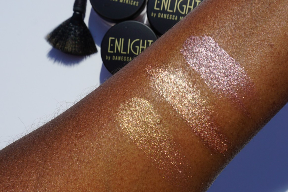 Danessa Myricks Enlight Illuminating Highlighters Gocha Glow Attraction Serenity Swatched on brown skin