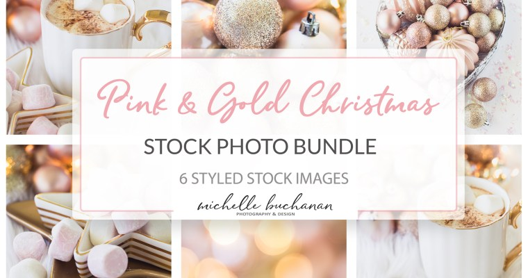 Pink & Gold Christmas Holiday Stock Photo Bundle