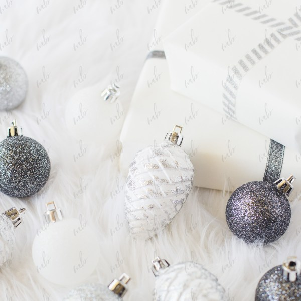 Monochrome christmas holiday styled stock photo