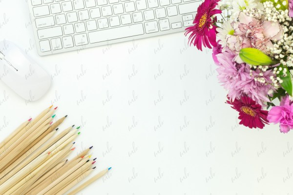 Pink and blue workspace styled stock photo